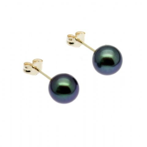 9ct Gold Black Pearl Earrings 7mm Round Cultured Pearls Gold Studs